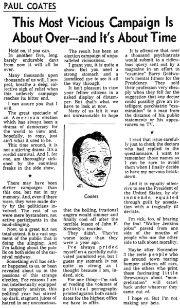 Published In The Los Angeles Times On Oct 29 1964 At Denouement Of Lyndon B Johnson Vs Barry Goldwater Campaign Sentiments This Column