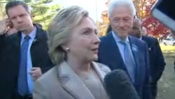 Clintons outside New York polling station