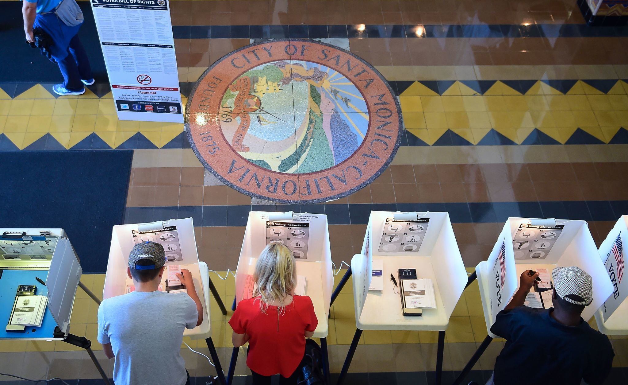 Voters cast their ballots in Santa Monica City Hall in November. (AFP/Getty Images)