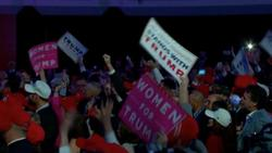 """Trump supporters in New York chant """"USA, USA"""""""
