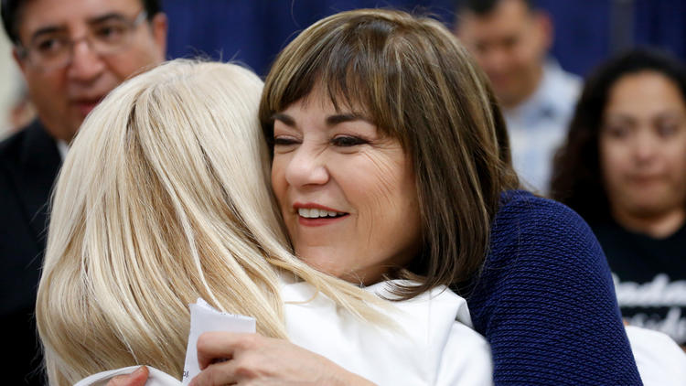 U.S. Senate candidate Rep. Loretta Sanchez (D-Orange), hugs supporters at her election night party on Tuesday. (Gary Coronado / Los Angeles Times)