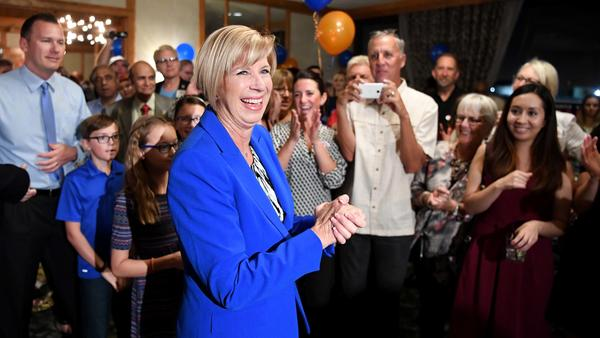 Janice Hahn celebrates her early lead   in San Pedro. (Wally Skalij / Los Angeles Times)