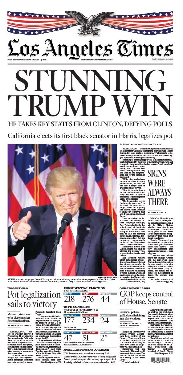 California Voter Guide >> The L.A. Times' front page today: 'STUNNING TRUMP WIN' - LA Times