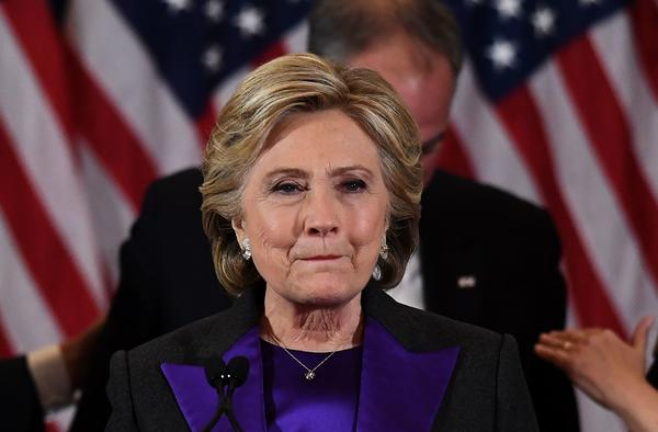 Hillary Clinton makes a concession speech after her loss to Donald Trump in New York on Nov. 9, 2016.