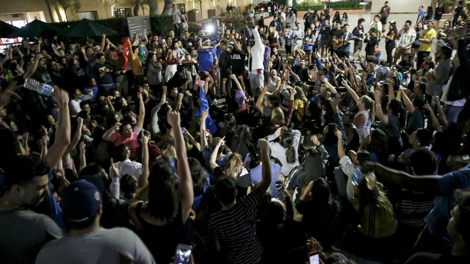 Shortly after Donald Trump deliverd a victory speech about 2,000 people rallied against the election at UCLA.