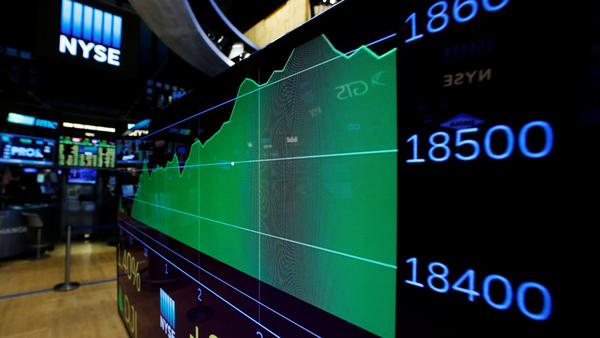 A screen shows the Dow Jones Industrial Average at the close of trading on the floor of the NYSE