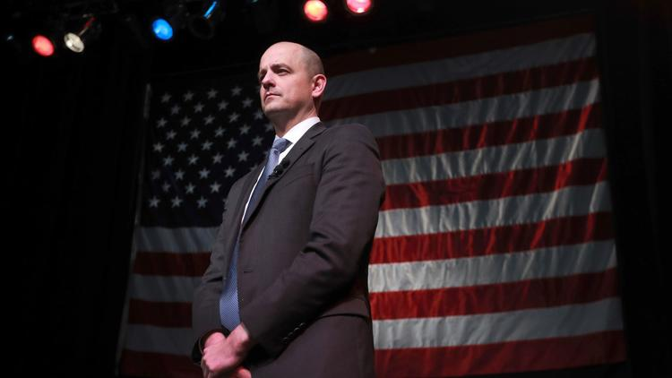 Independent presidential candidate Evan McMullin waits to speak to supporters at an election night party on Nov. 8, 2016, in Salt Lake City. (George Frey/Getty Images)