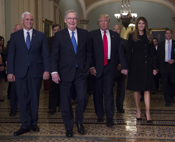 President-elect Donald Trump with Senate Majority Leader Mitch McConnell and Vice President-Elect Mike Pence, right, at the Capitol on Thursday. (Molly Riley / Associated Press)