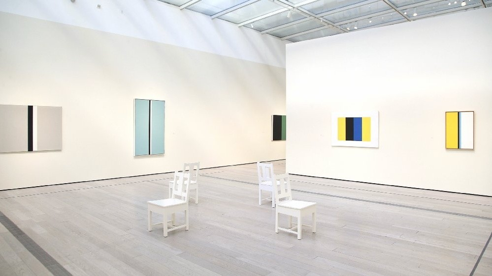 "Installation view, ""John McLaughlin Paintings: Total Abstraction"" at LACMA"