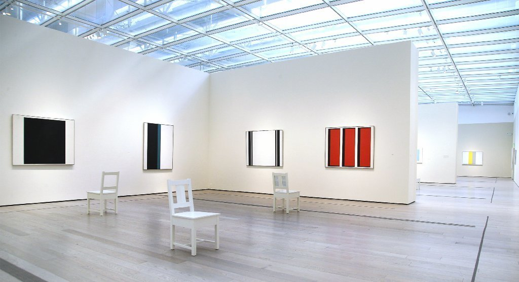 "Installation view of ""John McLaughlin Paintings: Total Abstraction"" at LACMA."