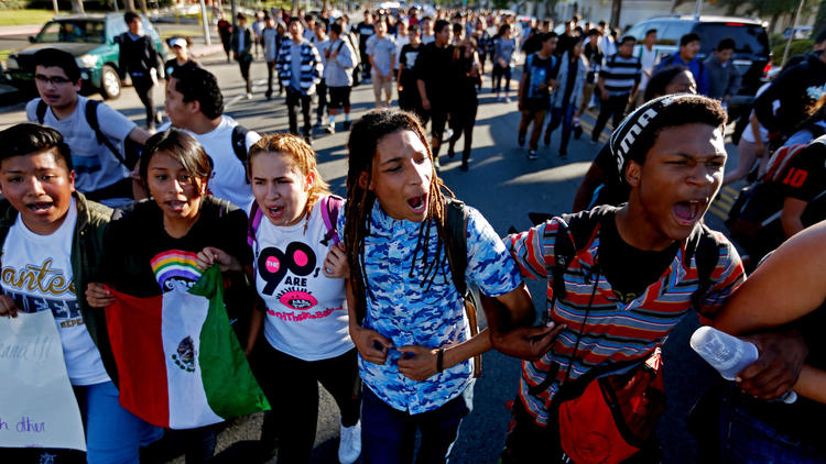 Thousands of L.A. County high school students stage walkouts to protest Donald Trump's victory