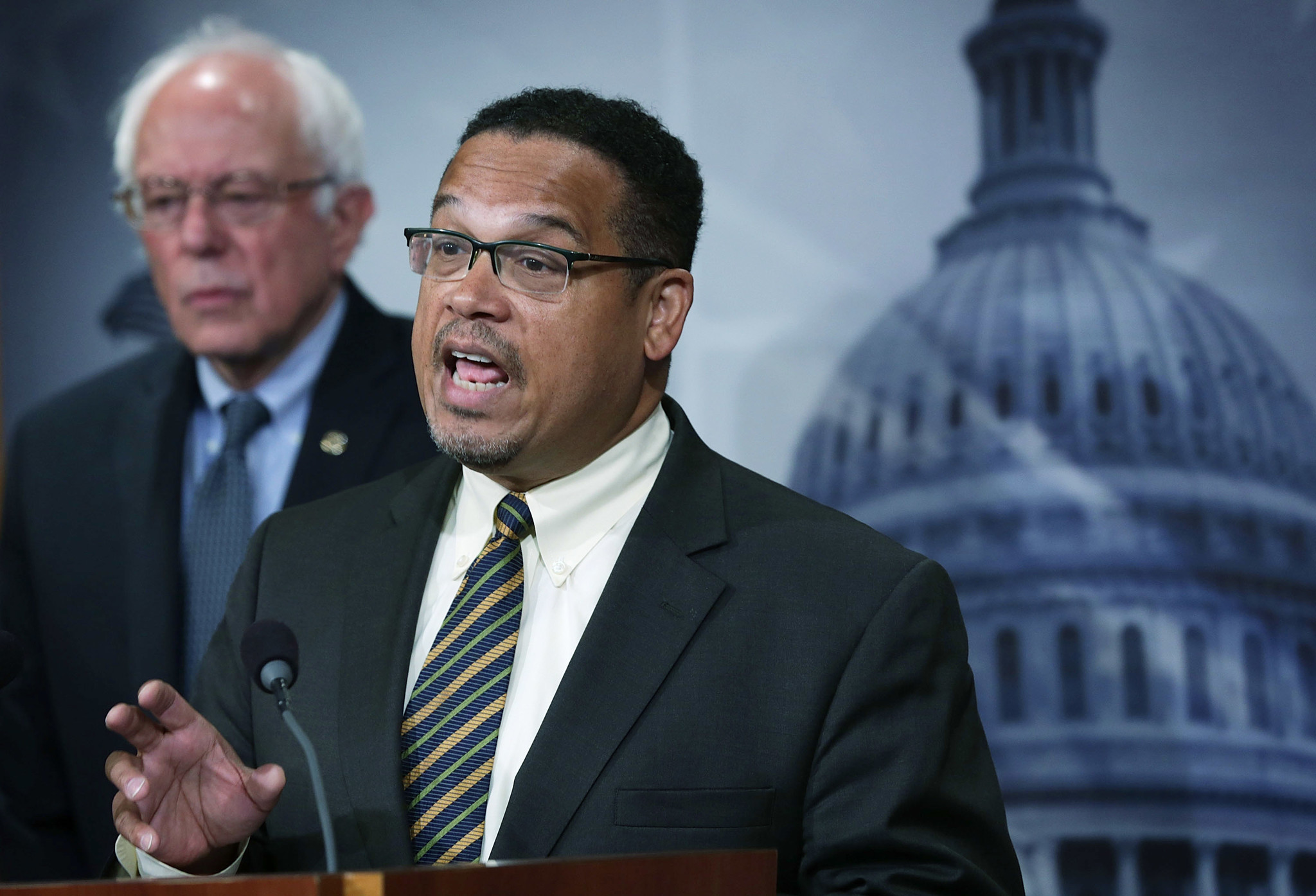 Rep. Keith Ellison (D-Minn.) with Sen. Bernie Sanders. (Alex Wong / Getty Images)