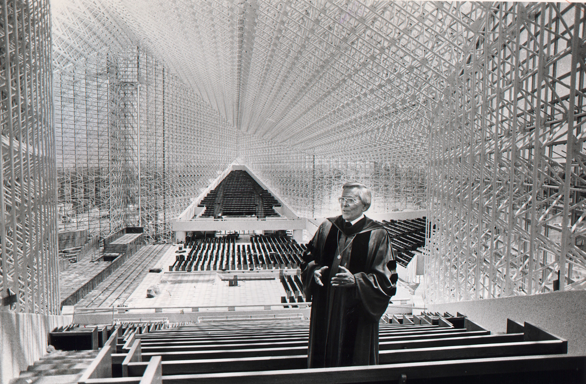 The Rev. Robert H. Schuller inside the Crystal Cathedral in 1980.