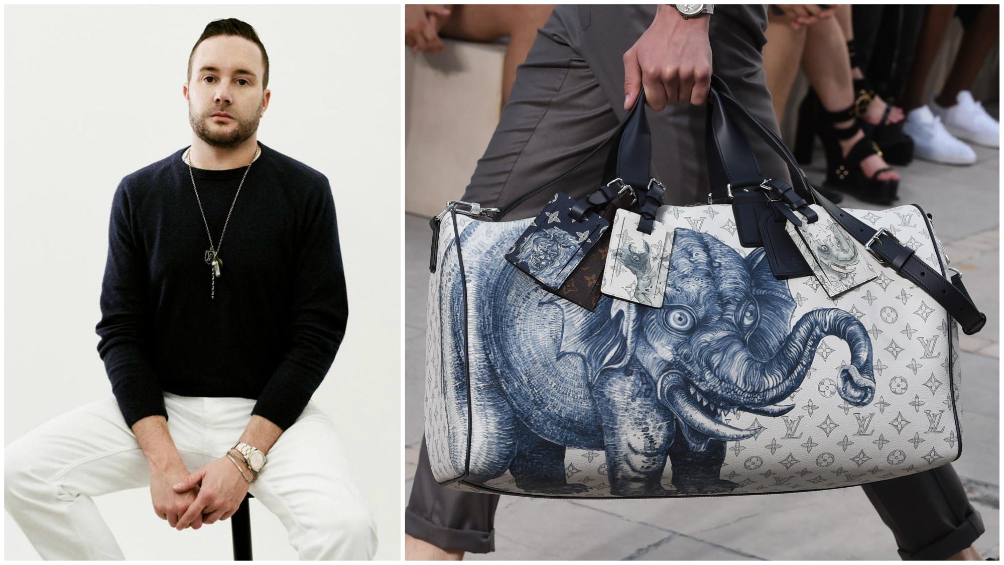 louis vuitton 39 s kim jones talks travel flightless parrots and the upside of bad animal etchings. Black Bedroom Furniture Sets. Home Design Ideas