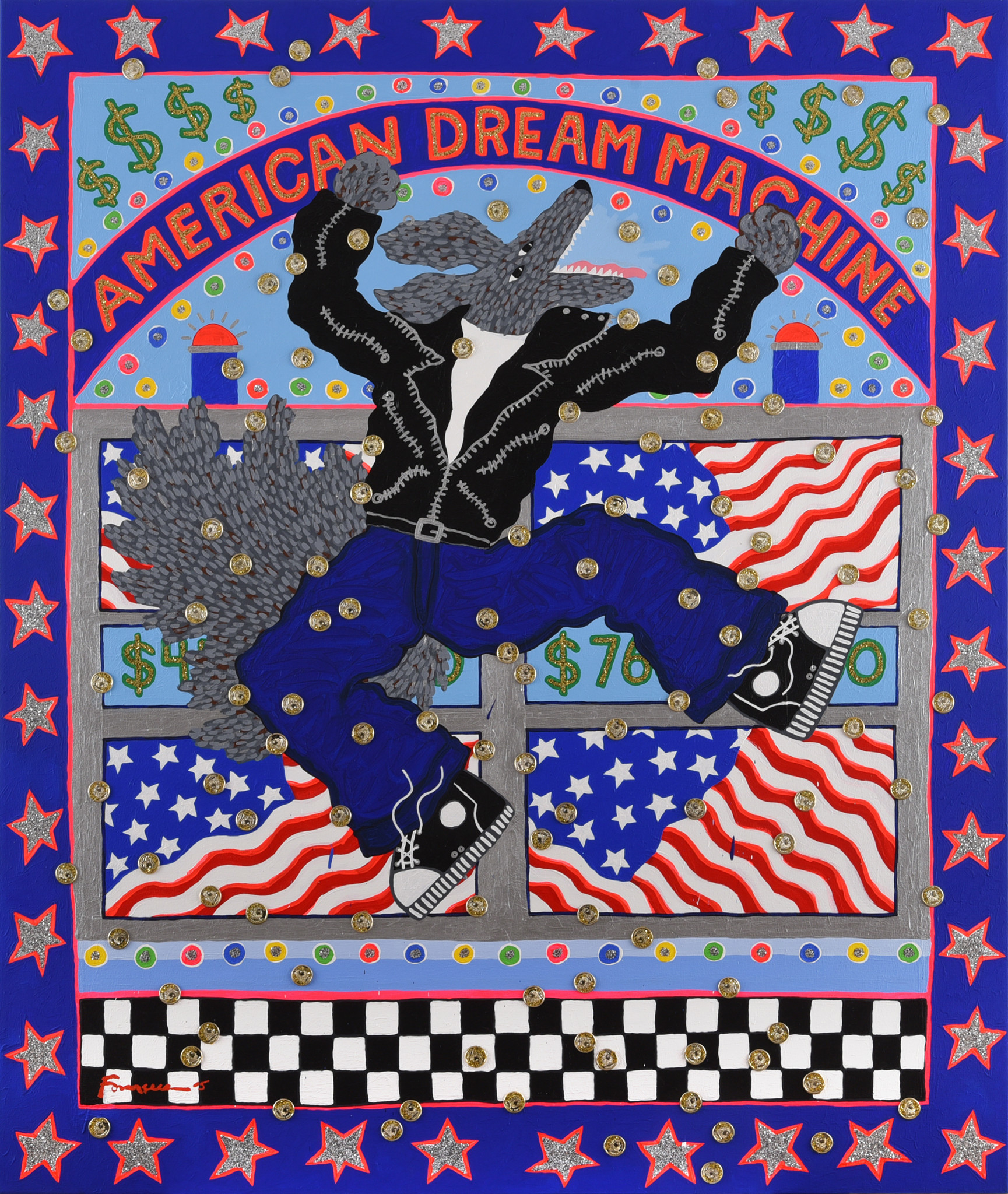 """American Dream Machine,"" 2005. Mixed media on paper."