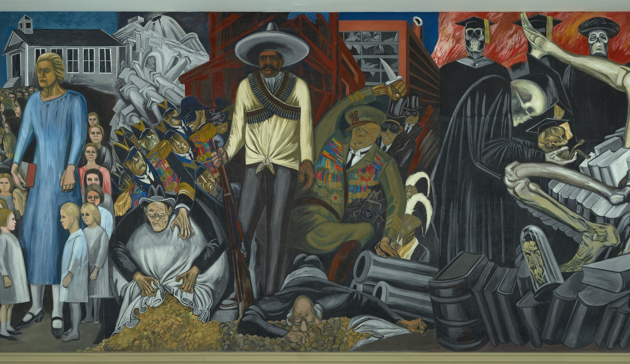 "Jose Clemente Orozco, ""The Epic of American Civilization (detail),"" a mural at Dartmouth College, appears as a digital projection in the show."