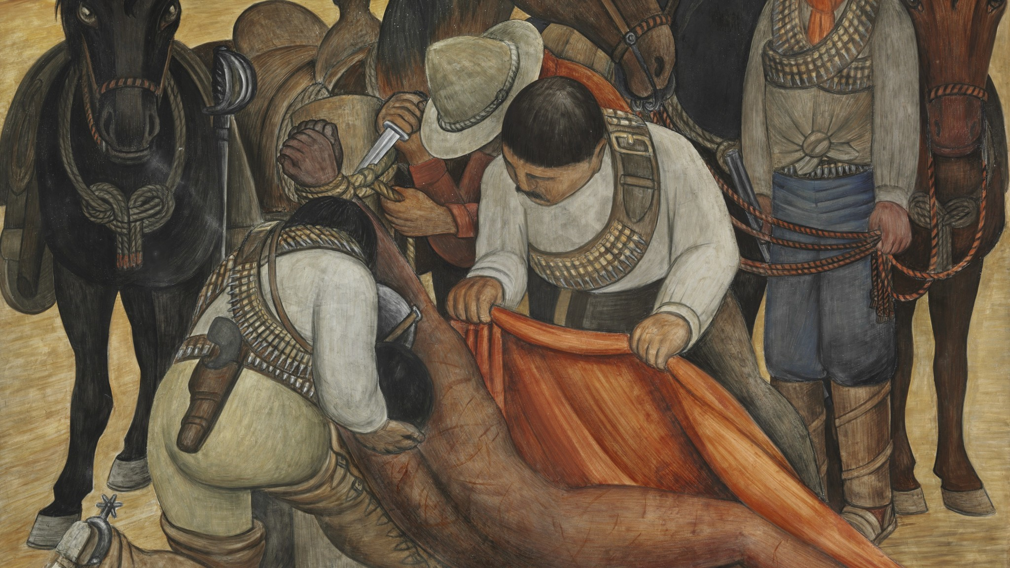 "Diego Rivera, ""Liberation of the Peon (detail),"" 1931, a portable fresco made for a traveling show."