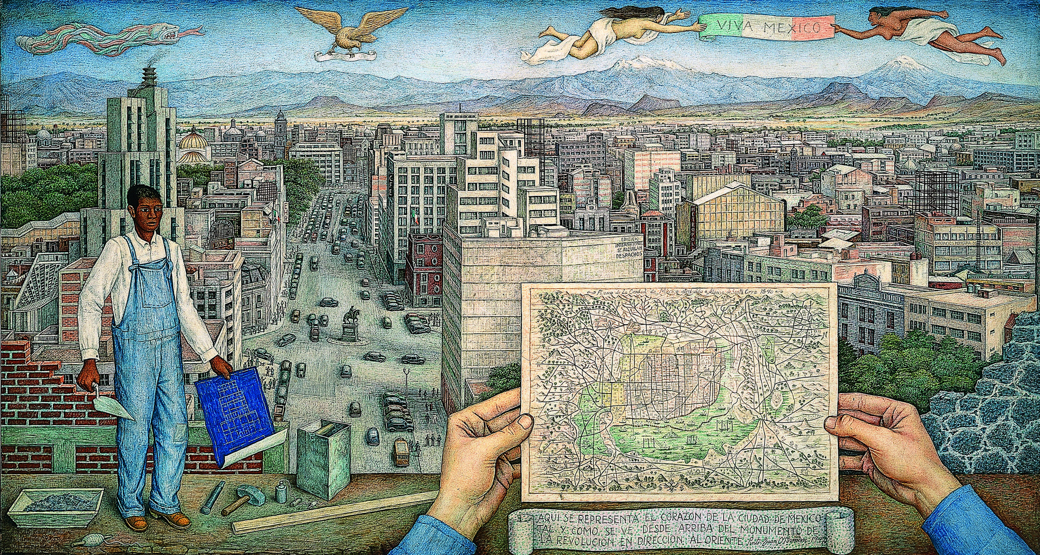 "Volcanoes rise beneath the ""Viva Mexico"" banner in Juan O'Gorman's 1949 painting of Mexico City, past and present."