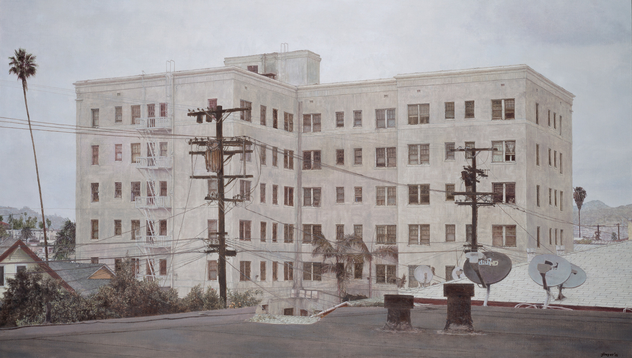"""Wilshire Center Building,"" 2015, oil on linen."
