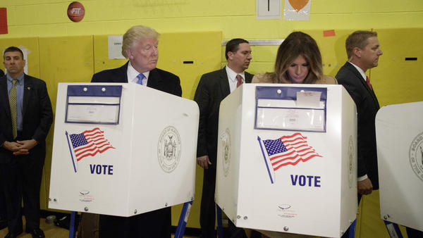Donald and Melania Trump cast their ballots on Nov. 8. (Evan Vucci / Associated Press)