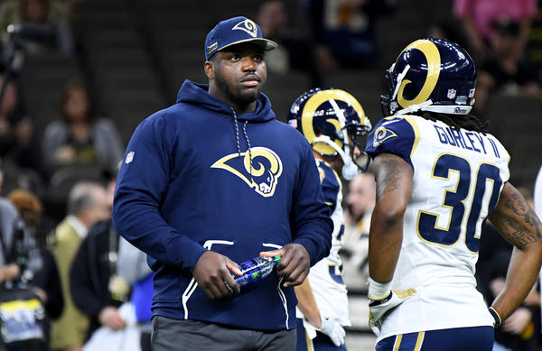 Rams Greg Robinson did not suit up for the Rams-Saints game. (Wally Skalij / Los Angeles Times)