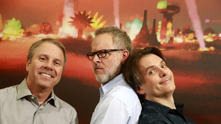 """Zootopia"" producer Clark Spencer, from left, and directors Rich Moore and Byron Howard found the balance between message and entertainment. (Kirk McKoy / Los Angeles Times)"