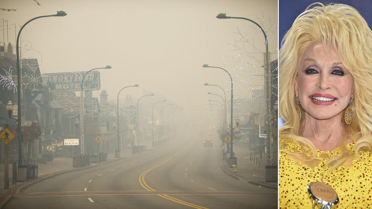Smoke in Gatlinburg, Tenn., on Monday soon gave way to flames that forced thousands to evacuate. Tennessee native Dolly Parton offered her prayers Tuesday. (Brianna Paciorka / Knoxville News Sentinel, left; Michael Loccisano / Getty Images, right)