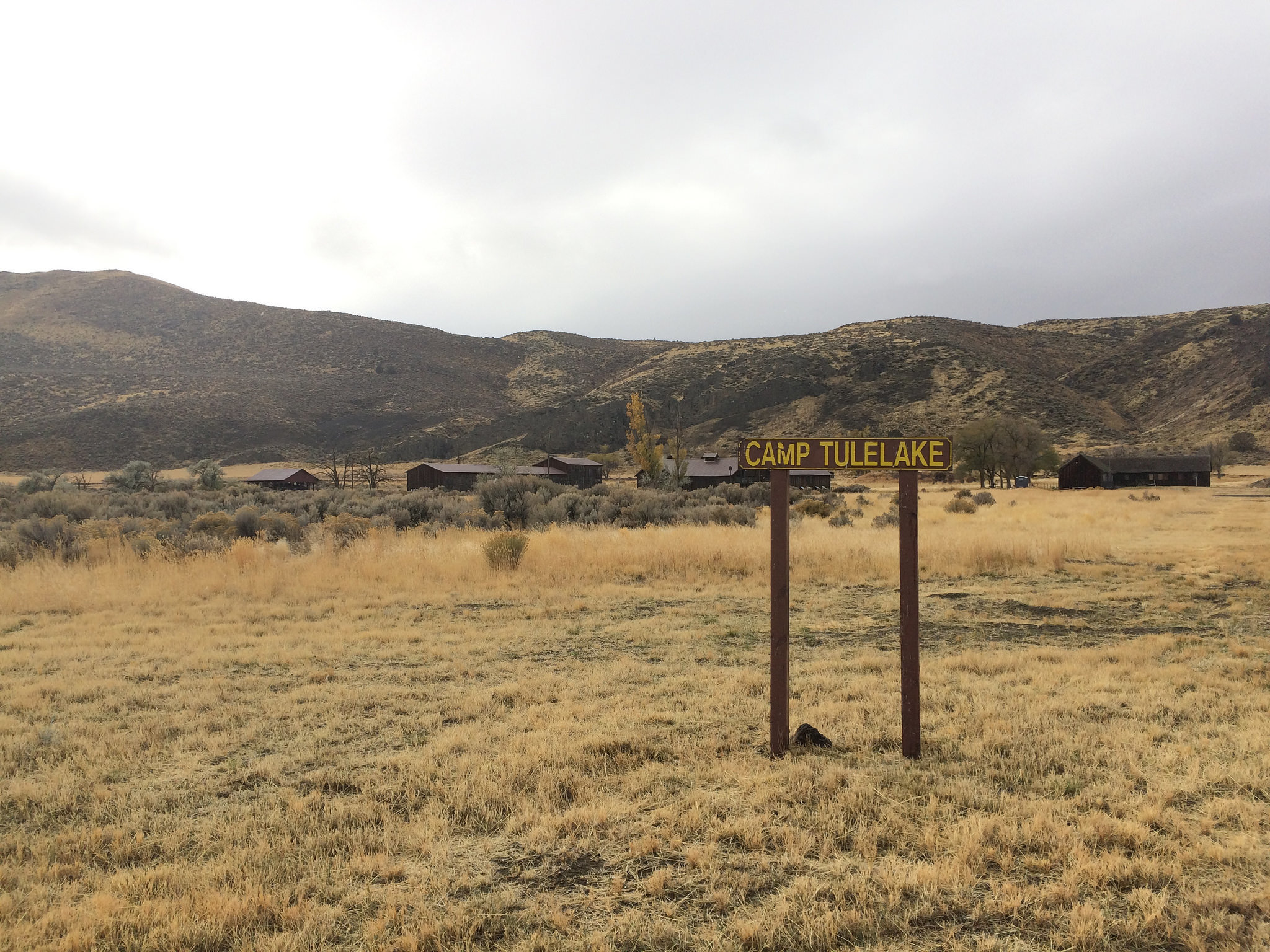 The entrance to Camp Tulelake, a former Civilian Conservation Corps camp that held Japanese American incarcerees early on during World War II.