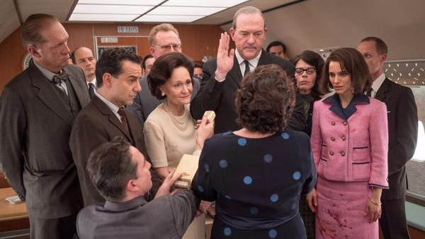 "A key scene in ""Jackie"" with Natalie Portman on Air Force One after the assassination of the president with Lyndon Baines Johnson played by John Carroll Lynch, being sworn in. (Fox Searchlight)"