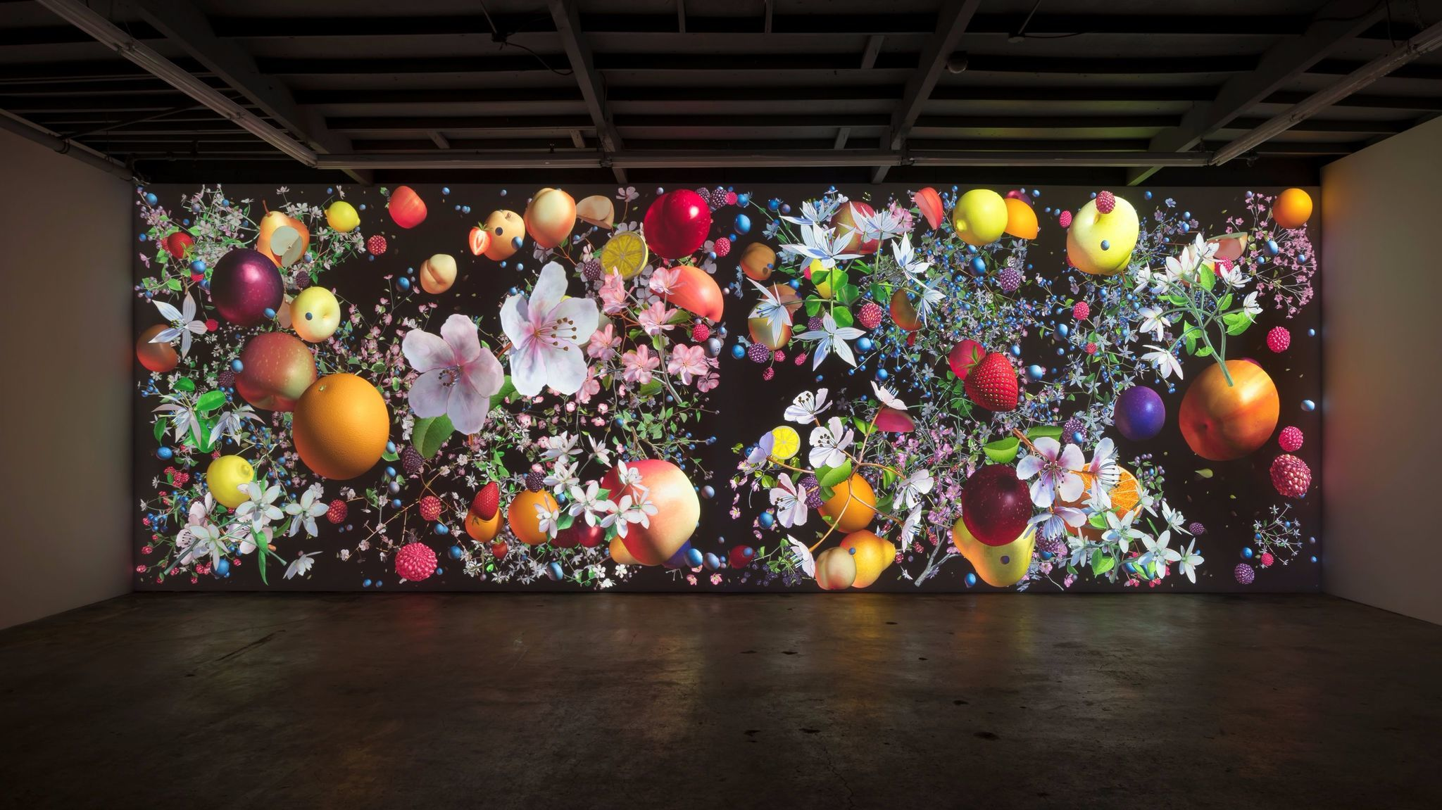 "Jennifer Steinkamp, ""Still-Life"" installation view, 2016, computer generated animation,"