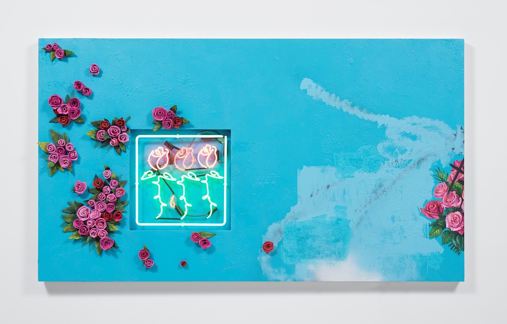 "Patrick Martinez's ""los angeles flower still life,"" 2016, ceramic, neon and mixed media on panel with wall stucco, 48 inches by 84 inches."