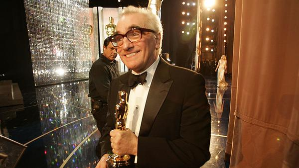 "Martin Scorsese after winning the director trophy for ""The Departed"" at the 2007 Oscars. (Al Seib / Los Angeles Times)"