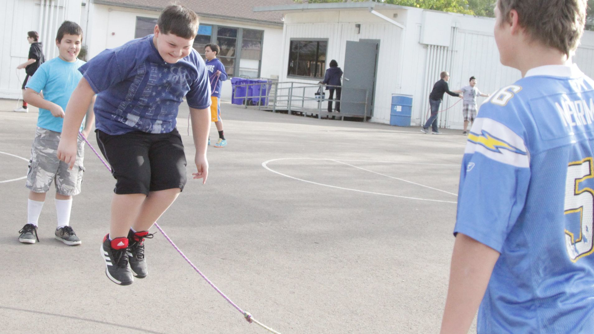 Tyler Cass enjoys his time jumping rope.
