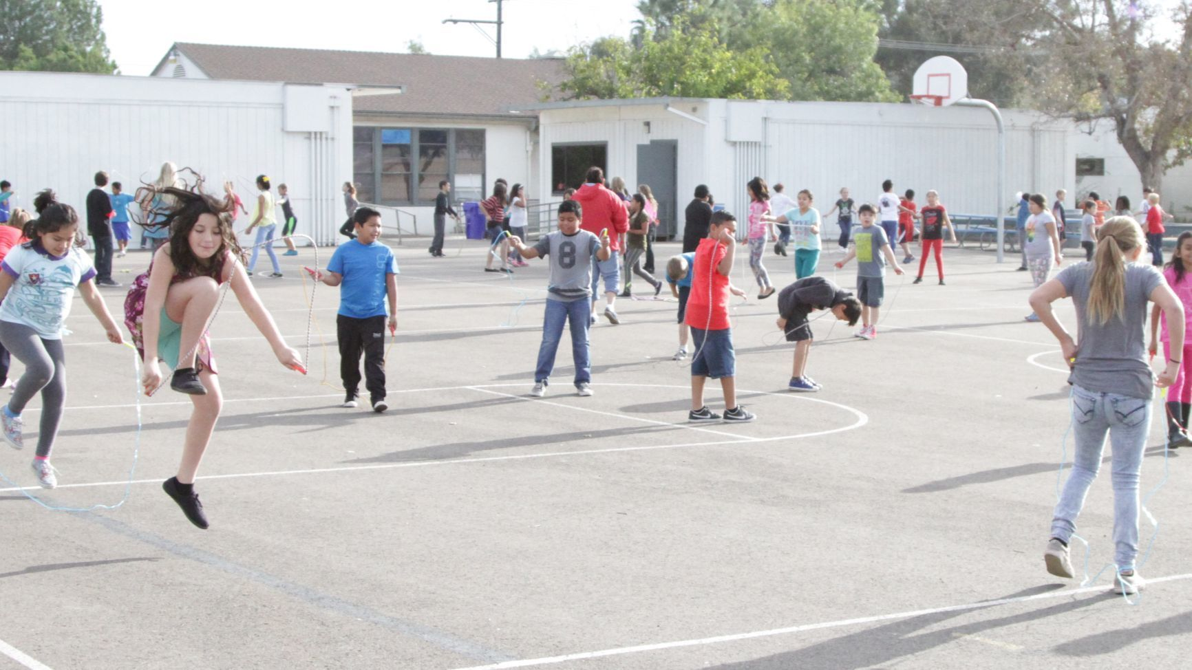 Ramona Elementary students exceed their fundraising goal in the Jump Rope for Heart event they held to honor the late Andy Diaz, campus supervisor who died of a heart attack in June.