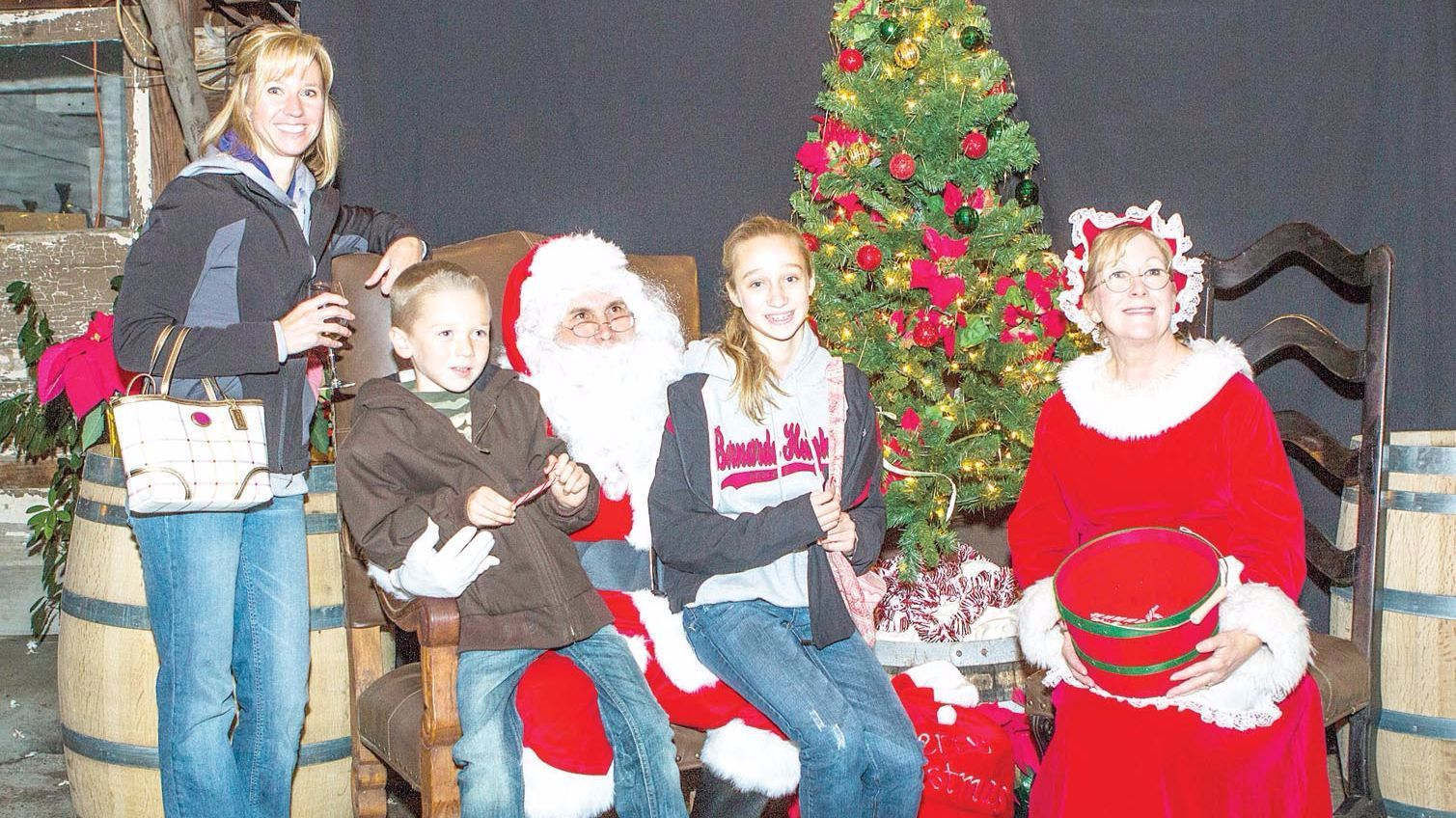 "Meet with Santa and Mrs. Claus during Bernardo Winery's ""Holiday Nights."""
