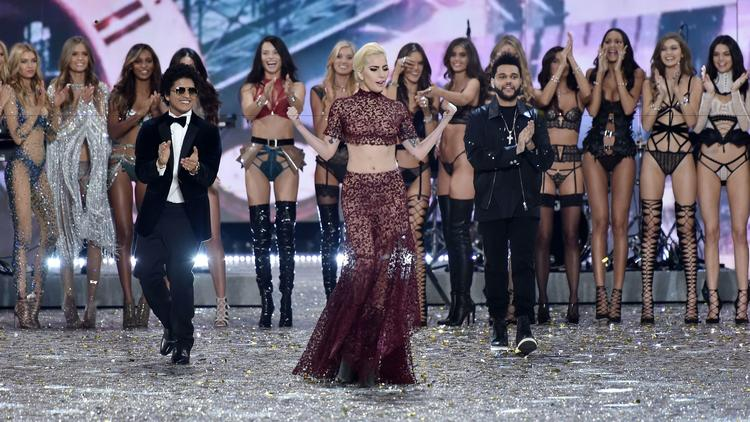 Bruno Mars, Lady Gaga and the Weeknd appear on stage in Paris with models from the Victoria's Secret Fashion Show