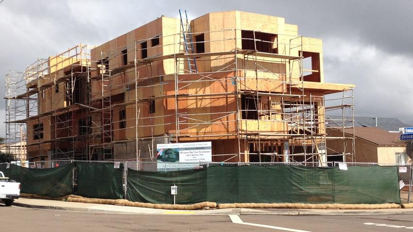 Four townhomes under construction in Point Loma.