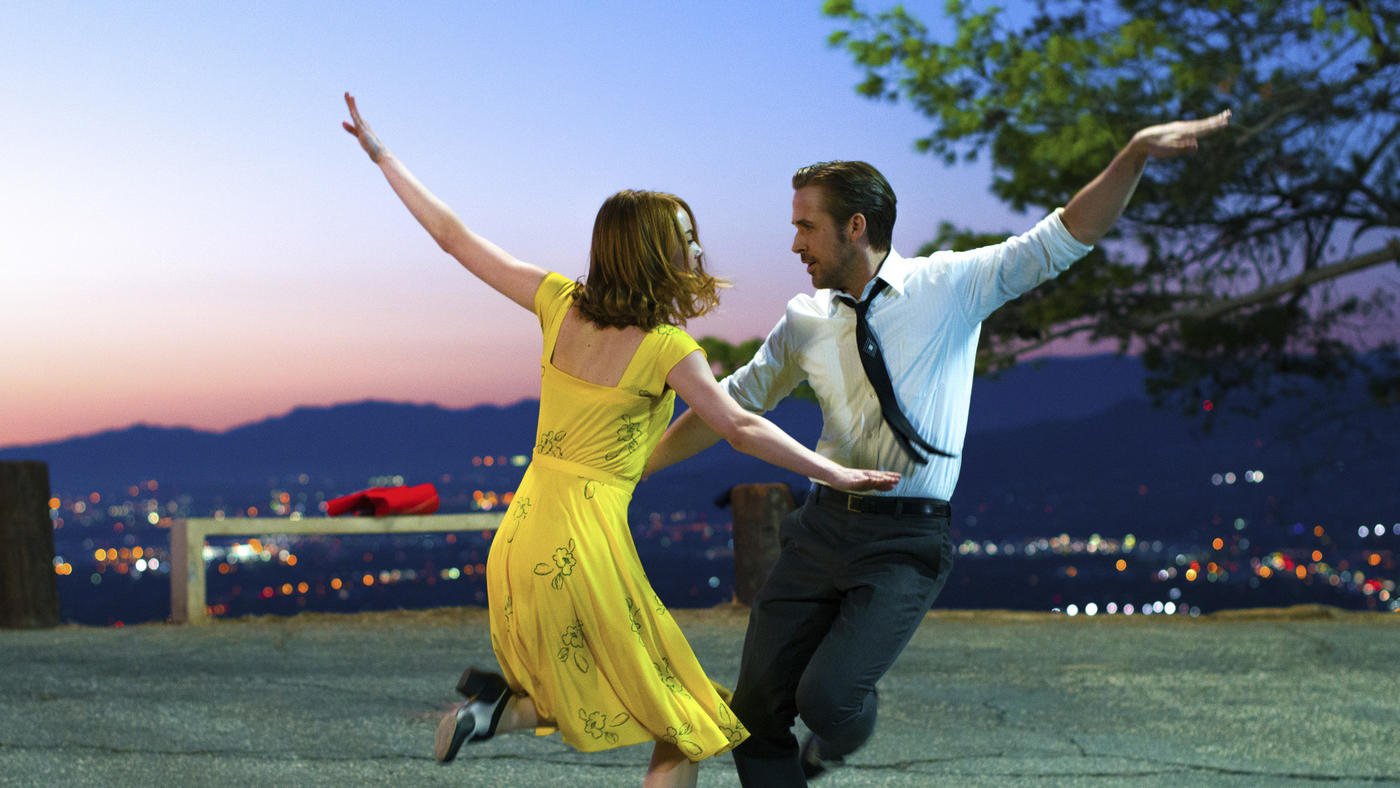 "Emma Stone and Ryan Gosling in ""La La Land."" (Dale Robinette / Lionsgate/Associated Press)"