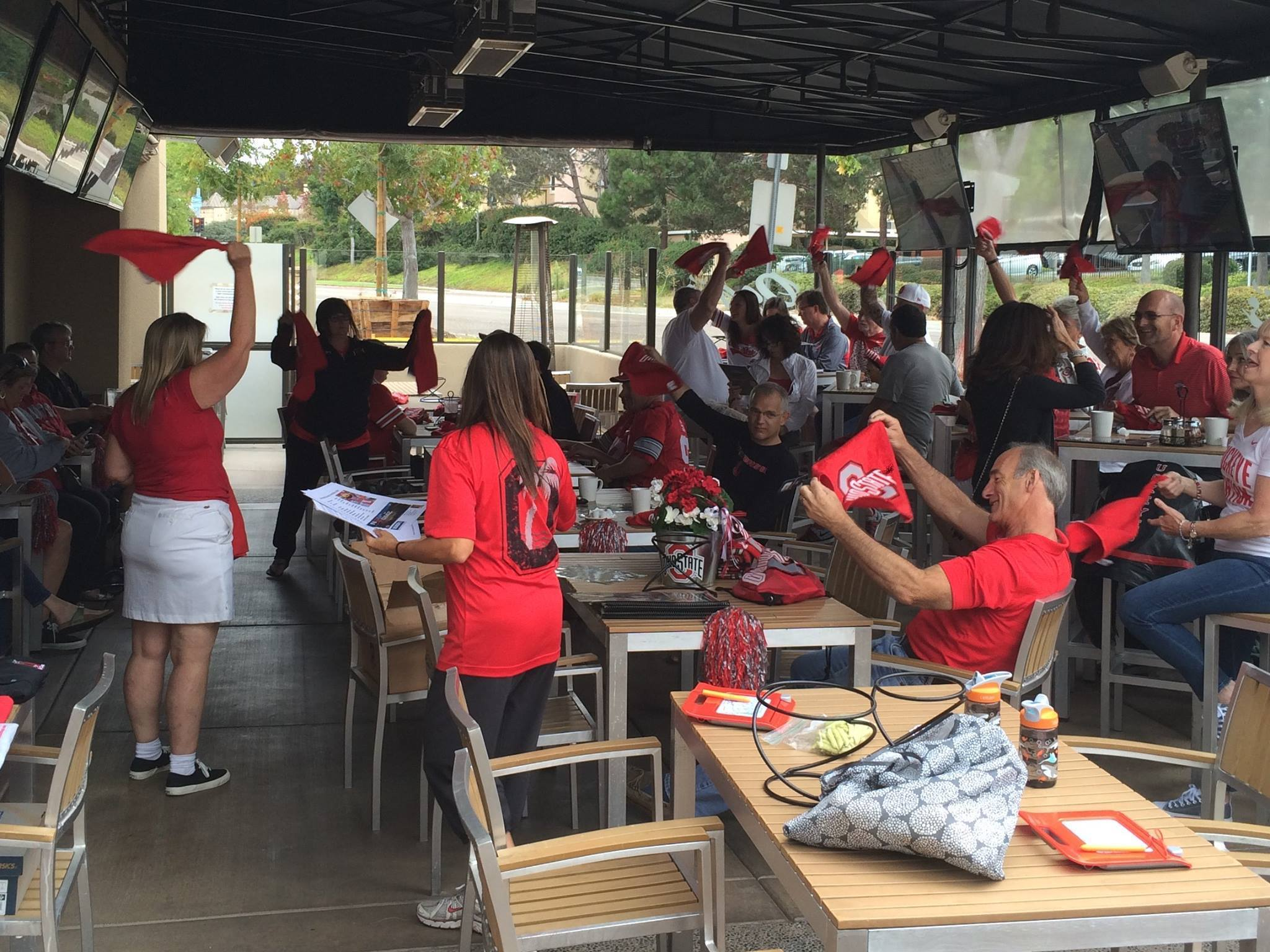 A Ohio State watch party on the Oggi's patio in Carmel Valley.