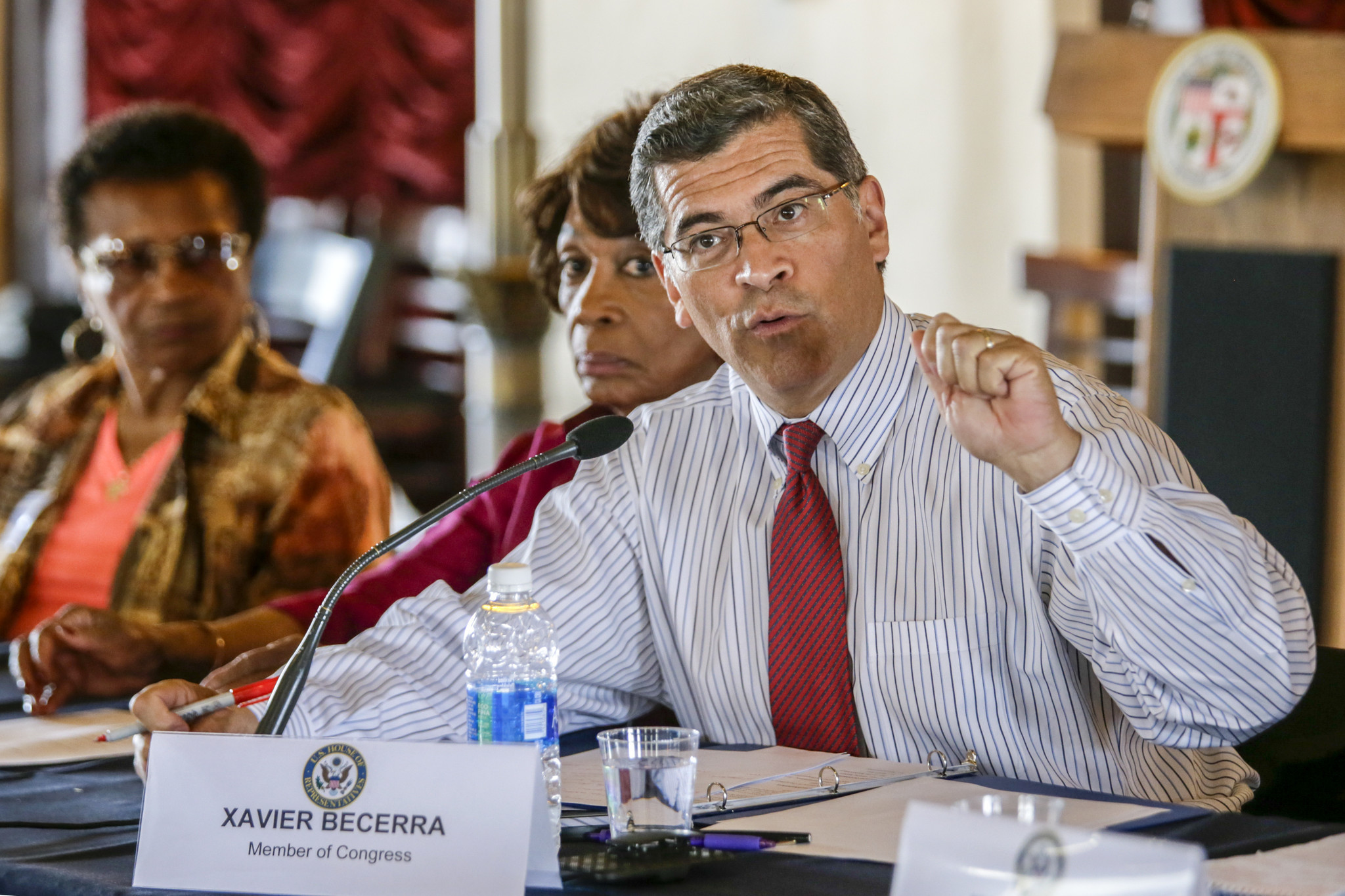 rep xavier becerra d los angeles shown at a gun violence - Attorney General Job Description