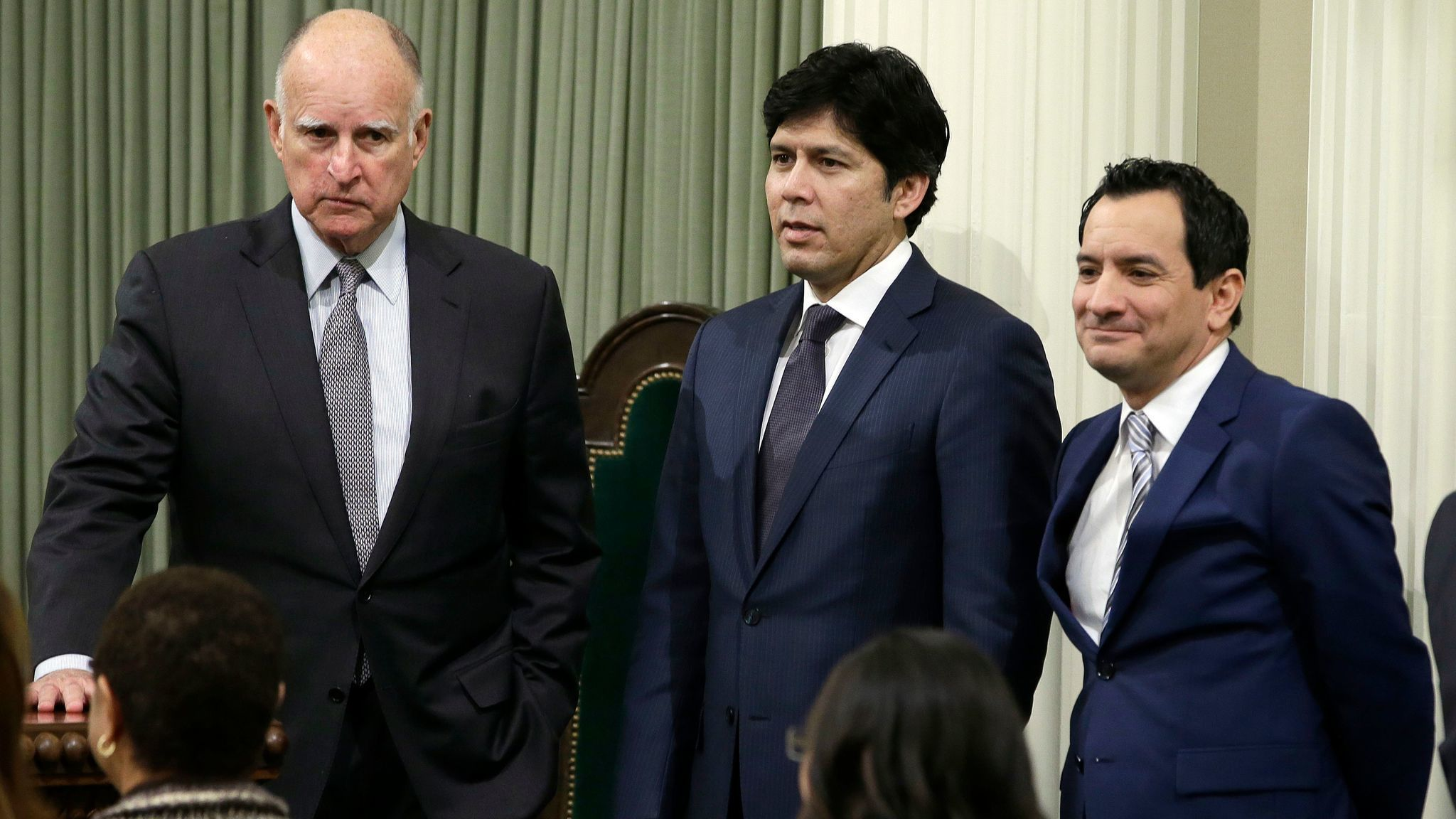 California Gov. Jerry Brown, from left, Senate President Pro Tem Kevin de León (D-Los Angeles) and Assembly Speaker Anthony Rendón (D-Paramount) at the Capitol in Sacramento in March. (Rich Pedroncelli / Associated Press)