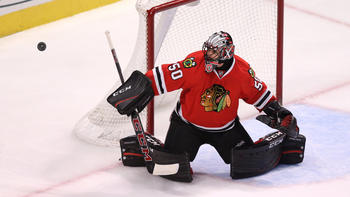 52b725c0266 Corey Crawford out with appendectomy  Blackhawks fall 3-1 to Flyers