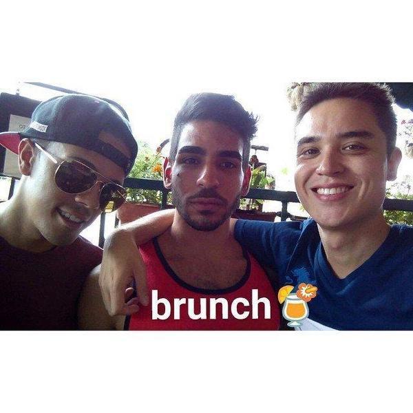 Brandon Wolf, Juan Guerrero and Drew Leinonen -- who often took vacations together -- at a recent brunch. Original Source: Instagram