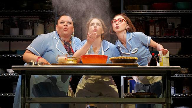 """Waitress"" star Jessie Mueller, flanked by Keala Settle, left, and Kimiko Glenn. The original Broadway cast recording is nominated for the musical theater album Grammy. (Joan Marcus)"