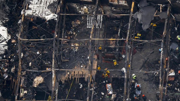 The Oakland warehouse known as the Ghost Ship lies in ruins after a fire that killed 36 people.