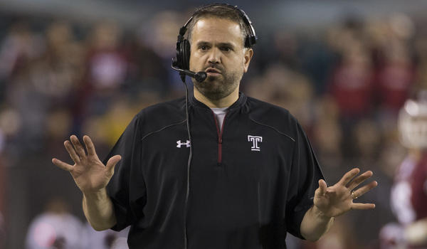 College football notes: Rhule leaves Temple to be coach at Baylor