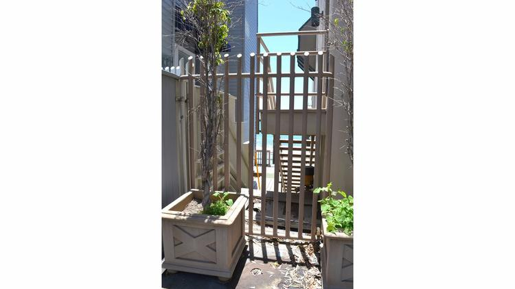 A gate on the Lent property blocks public access to the beach in Malibu.