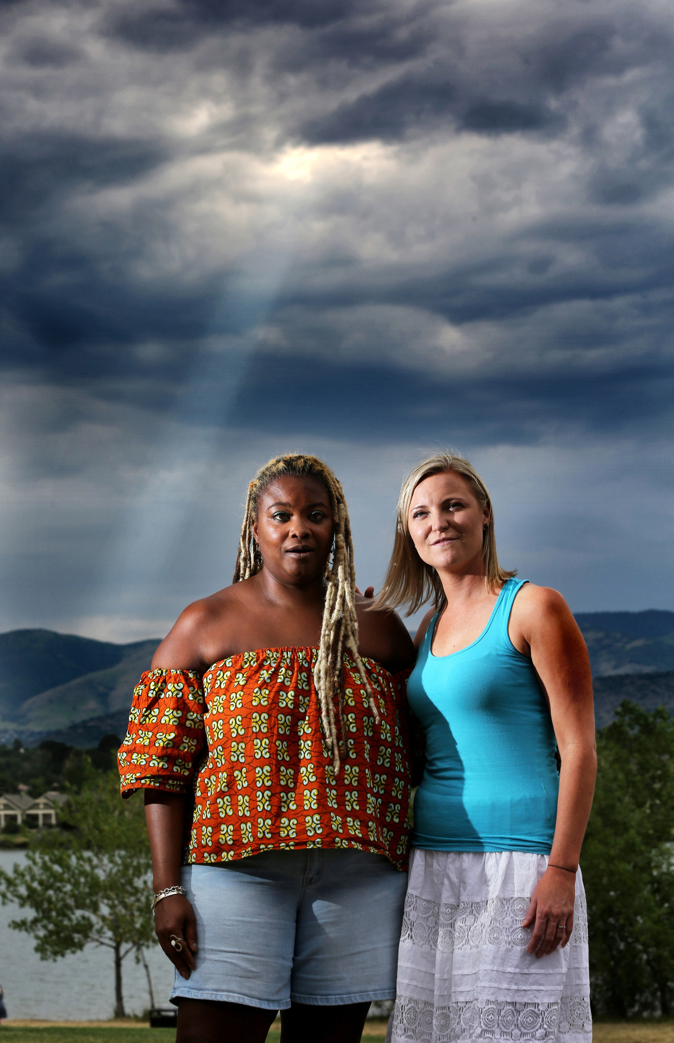 Columbine High School shooting survivor Heather Egeland, right, and Sherrie Lawson, a survivor of the 2013 Washington Navy Shipyard shooting, talk about their recovery experiences.