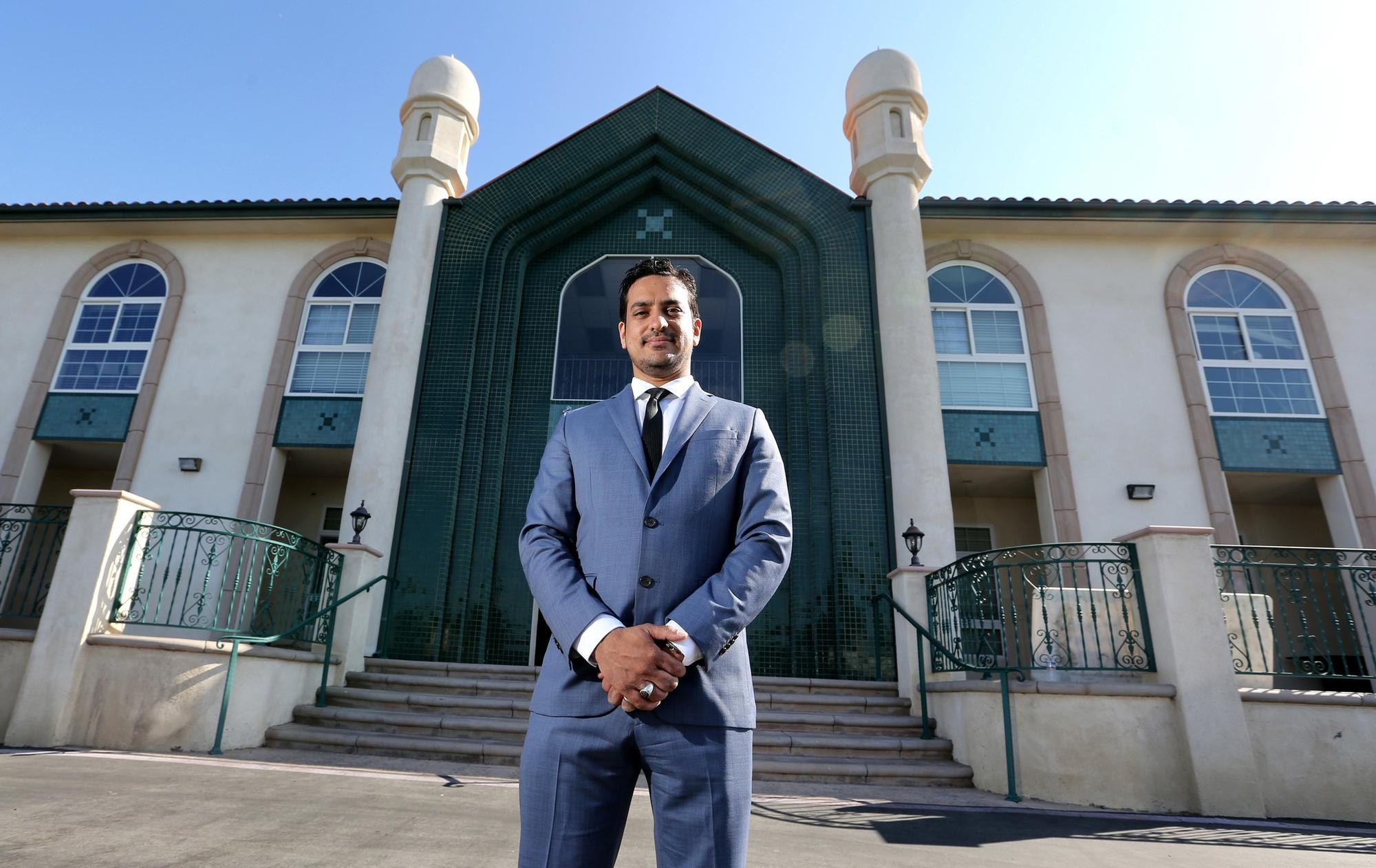 "In nearby Chino, Amjad Khan, spokesman for the Baitul Hameed Mosque, said the attack inspired his congregation ""to show what true Islam stands for."""