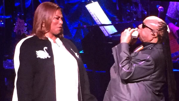 Stevie Wonder and Queen Latifah at the 2016 edition of Wonder's annual House Full of Toys benefit show in L.A. (Randy Lewis / Los Angeles Times)
